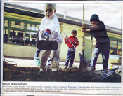Newspaper article with photo of students working at Ohlone school